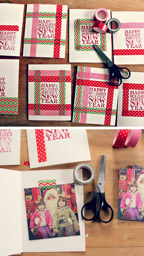 Easy Homemade Christmas Cards Washi Tape Holiday Cards