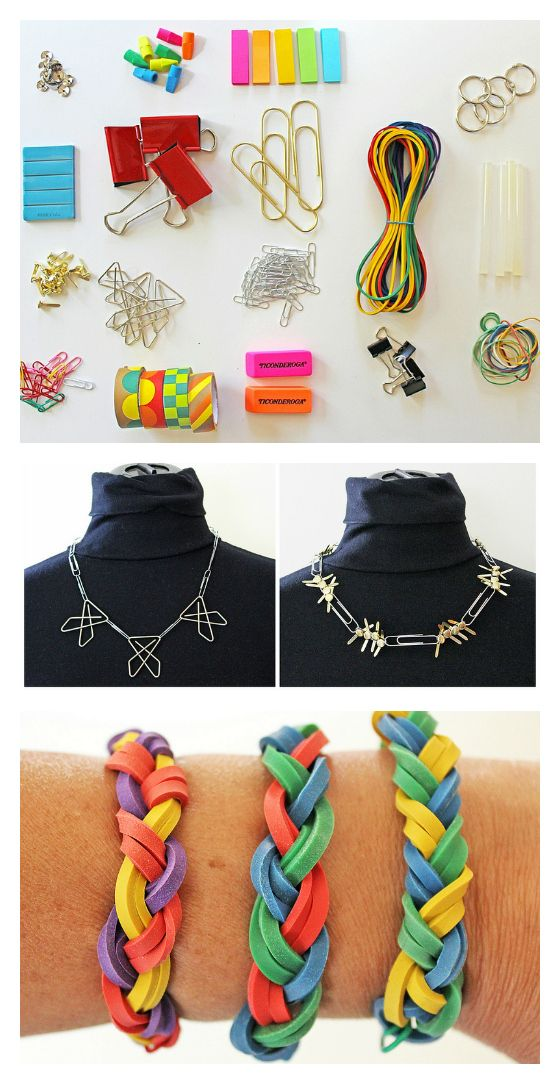 Make jewelry from office supplies!