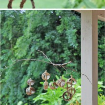 Make a Recycled Birdfeeder Mobile with a few items you already have on hand!
