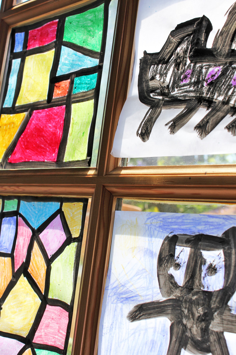 Faux Stained Glass Craft for kids- Ours is still in our window ONE YEAR LATER! | BABBLE DABBLE DO