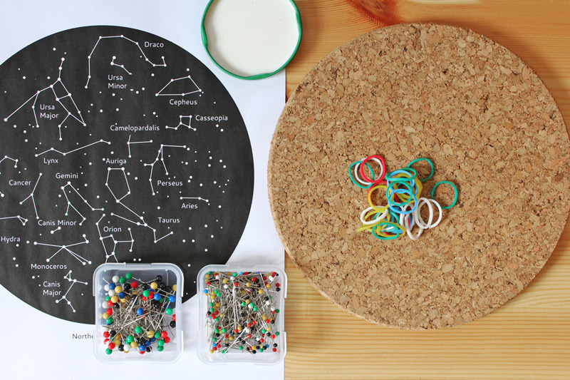 Fun kids' astronomy project: Make a constellation geoboard. Tutorial includes a template/instructions for making a geoboard for the Northern Hemisphere.