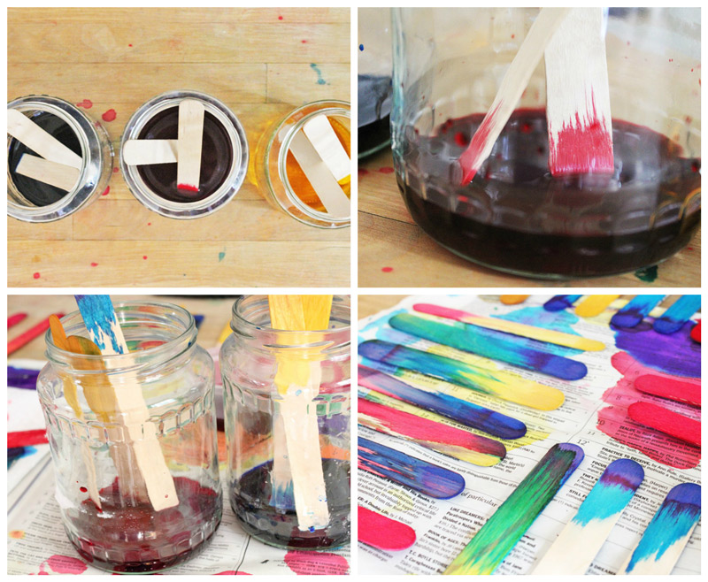 Simple Science Art Idea: Make gorgeous dip-dyed craft sticks and explore color mixing and absorption!