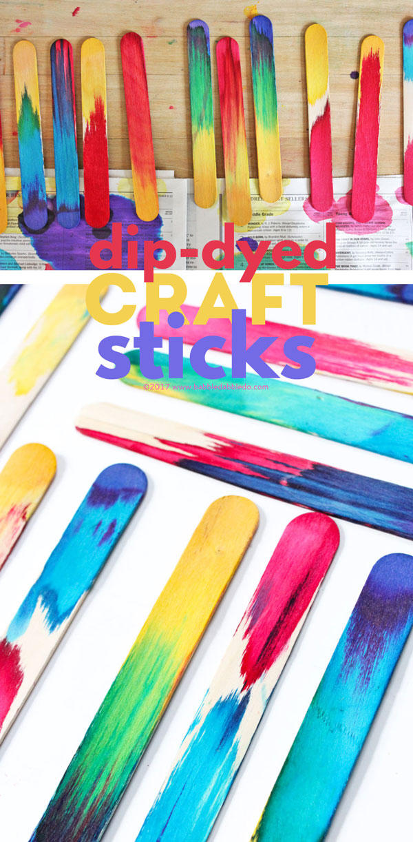 Science art idea dip dyed craft sticks project babble for Popsicle sticks arts and crafts ideas