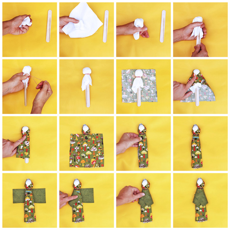 "Learn how to make a doll with a craft stick and some fabric scraps. Inspired by Native American ""Pieces Dolls."""