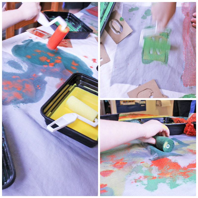 painting on fabric with kids