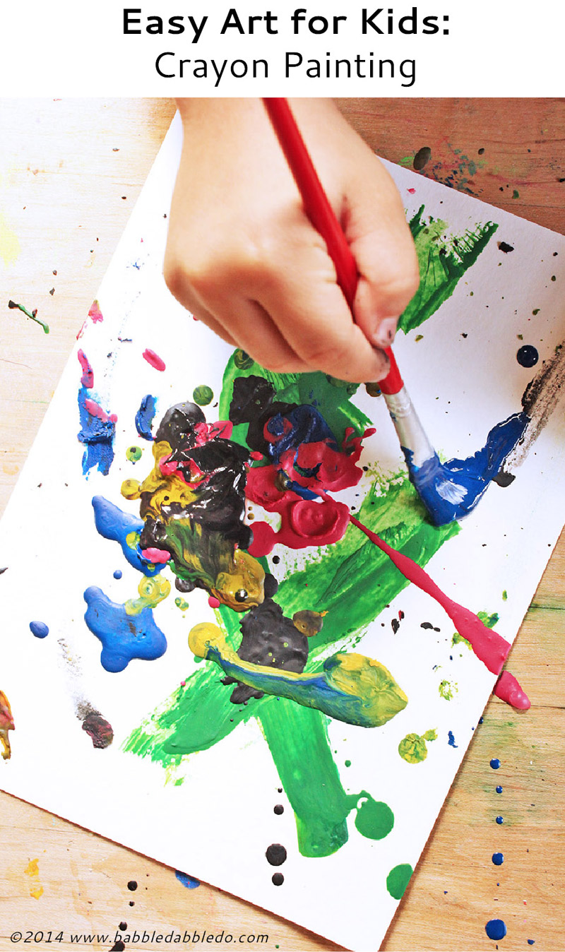 Easy art for kids crayon painting babble dabble do for Arts and craft paint