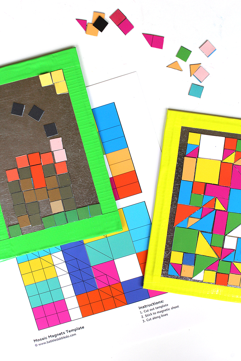 Art ideas for kids diy mosaic magnets babble dabble do for Cool art ideas for kids