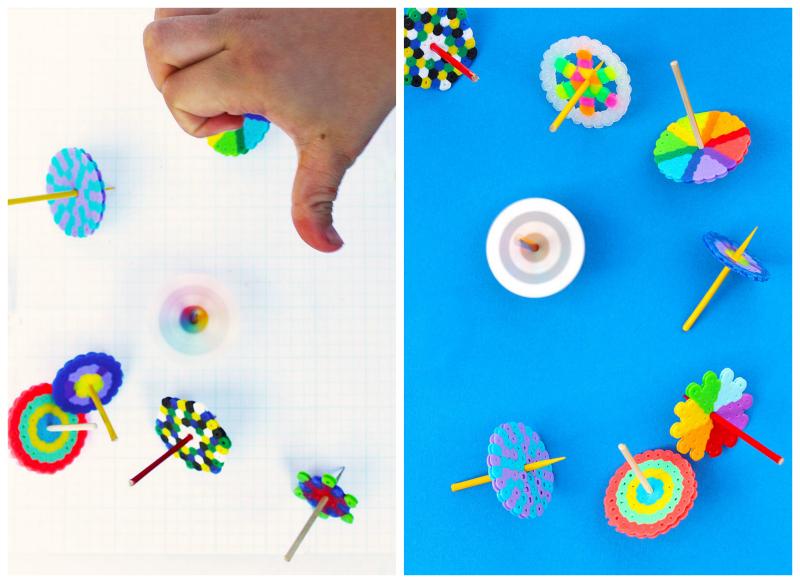 Make these easy DIY Toys: Spinning Tops using Perler beads