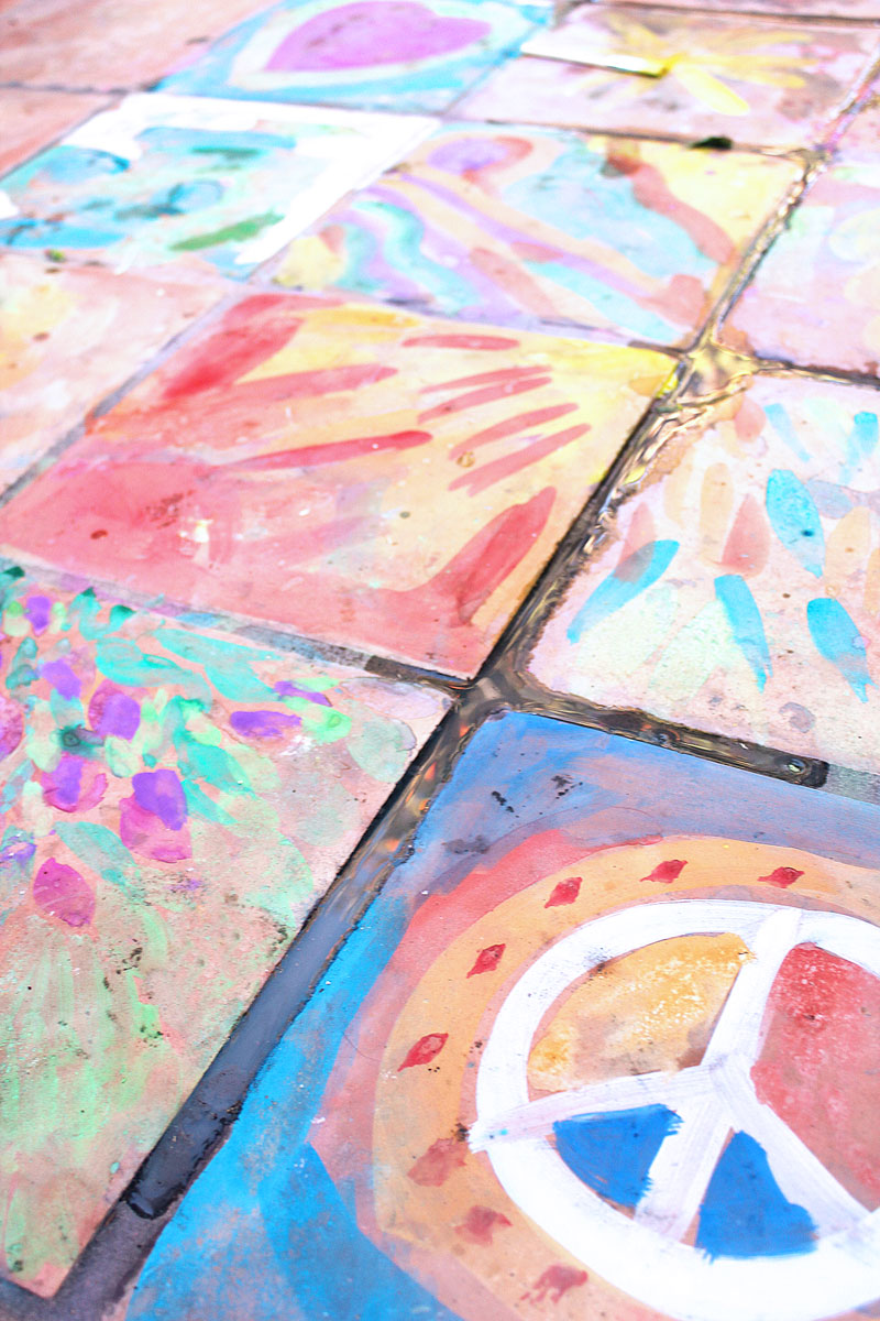 Easy art ideas for kids watercolor on tile babble dabble do for Watercolor ideas easy