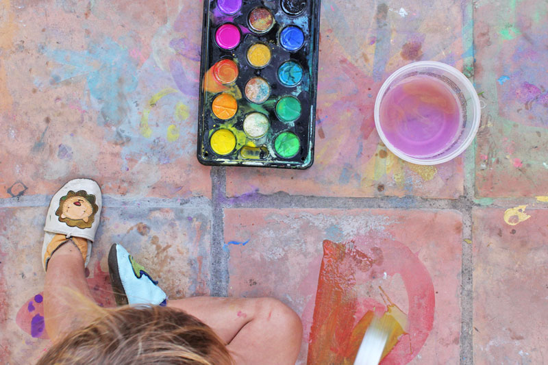 Easy Art Ideas for Kids: Watercolor on Tile. Gorgeous results that will fade away in time.