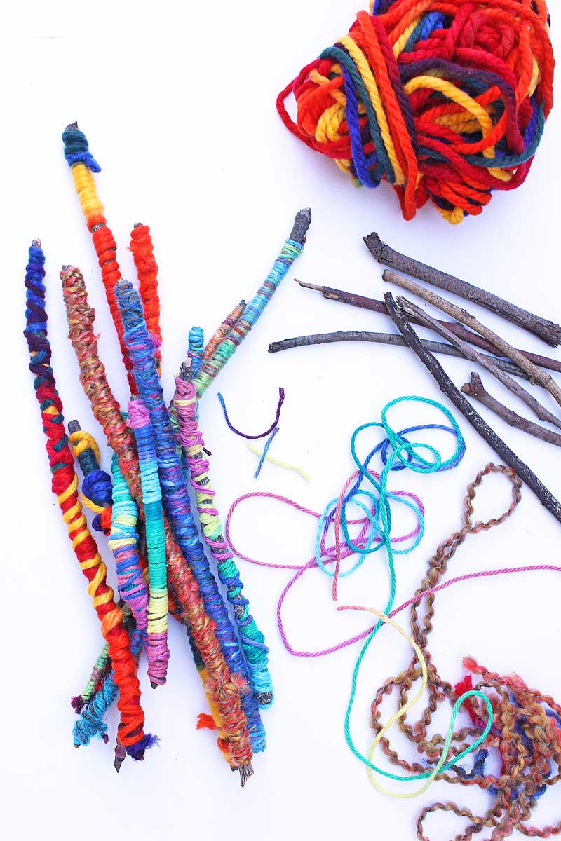 Easy crafts for kids yarn sticks babble dabble do for Quick crafts for kids