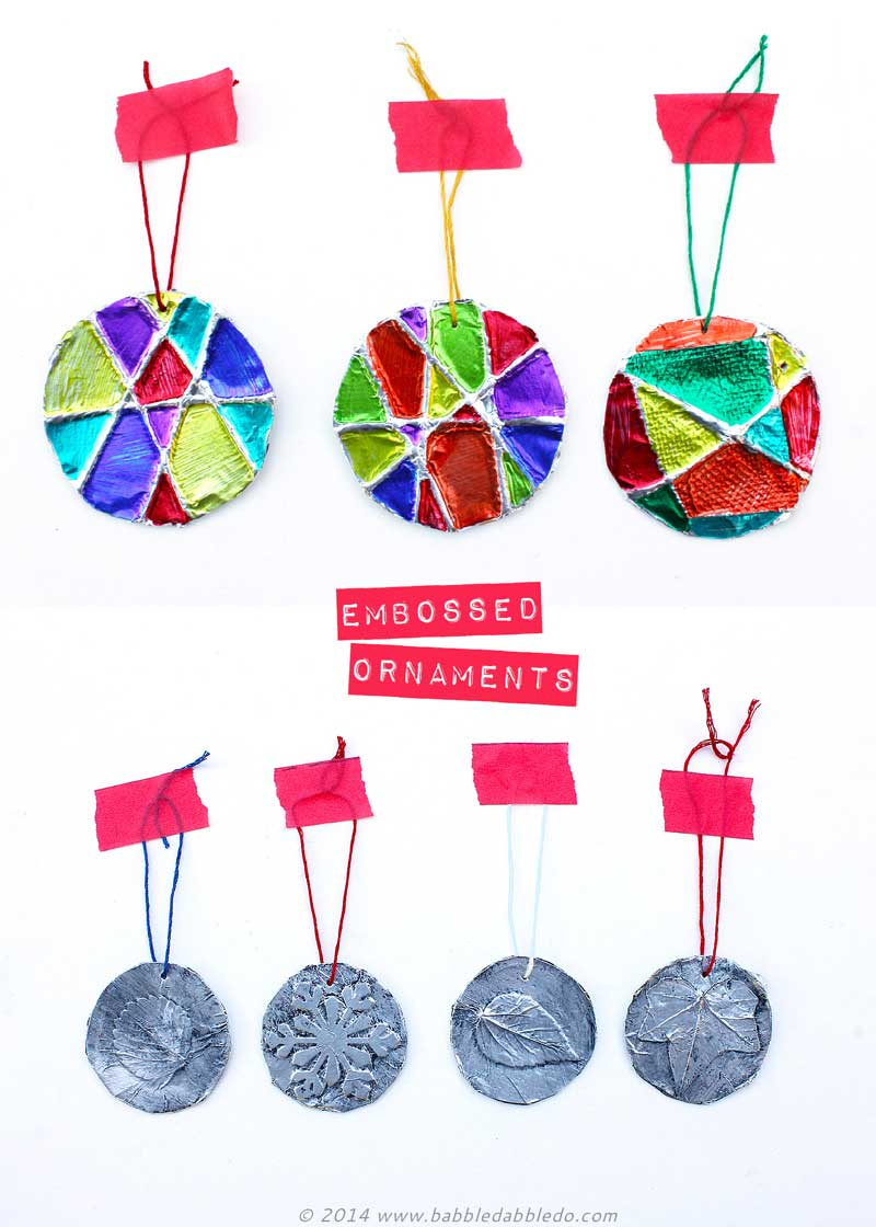 Homemade christmas ornaments 5 minute embossed ornaments for Christmas ornament craft ideas adults