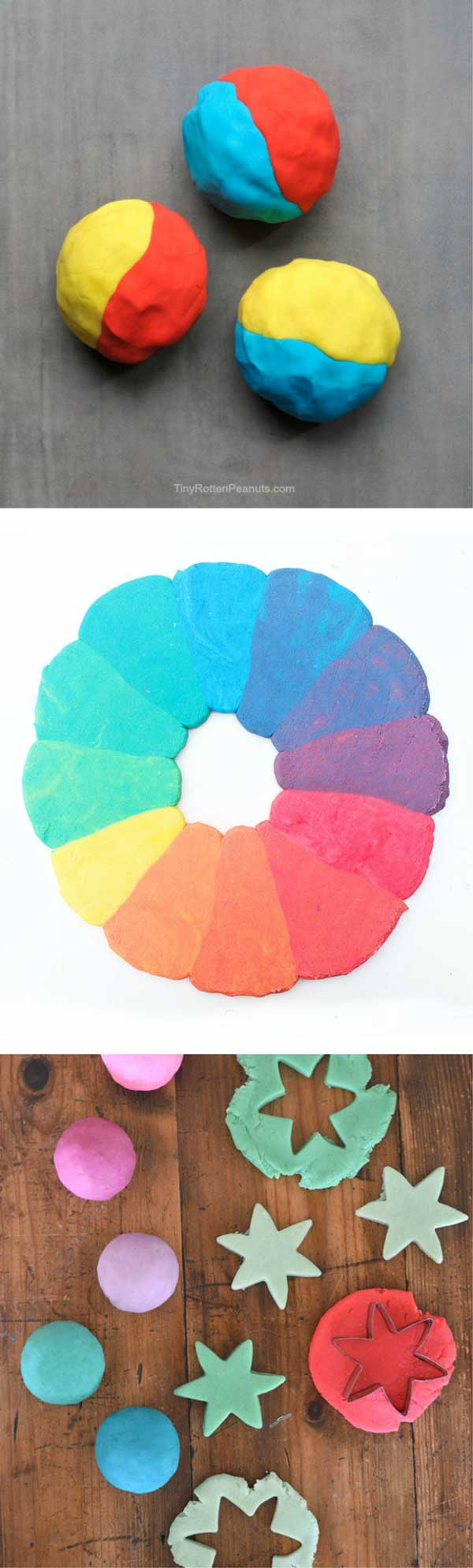Explore color theory by creating a rainbow playdough color wheel and two other color focused playdough activities.