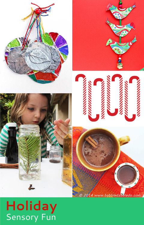 Holiday  Sensory Play: Explore the five senses through play this holiday season. 5 activities from Babble Dabble Do and links to 25 more sensory projects from 5 fantastic bloggers.