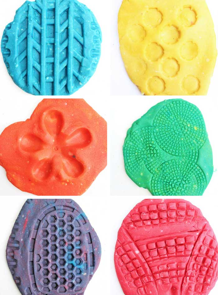 Here's a novel idea for play dough activities: use recyclables as play dough toys. Recycled plastics have some amazing textures for kids to explore.