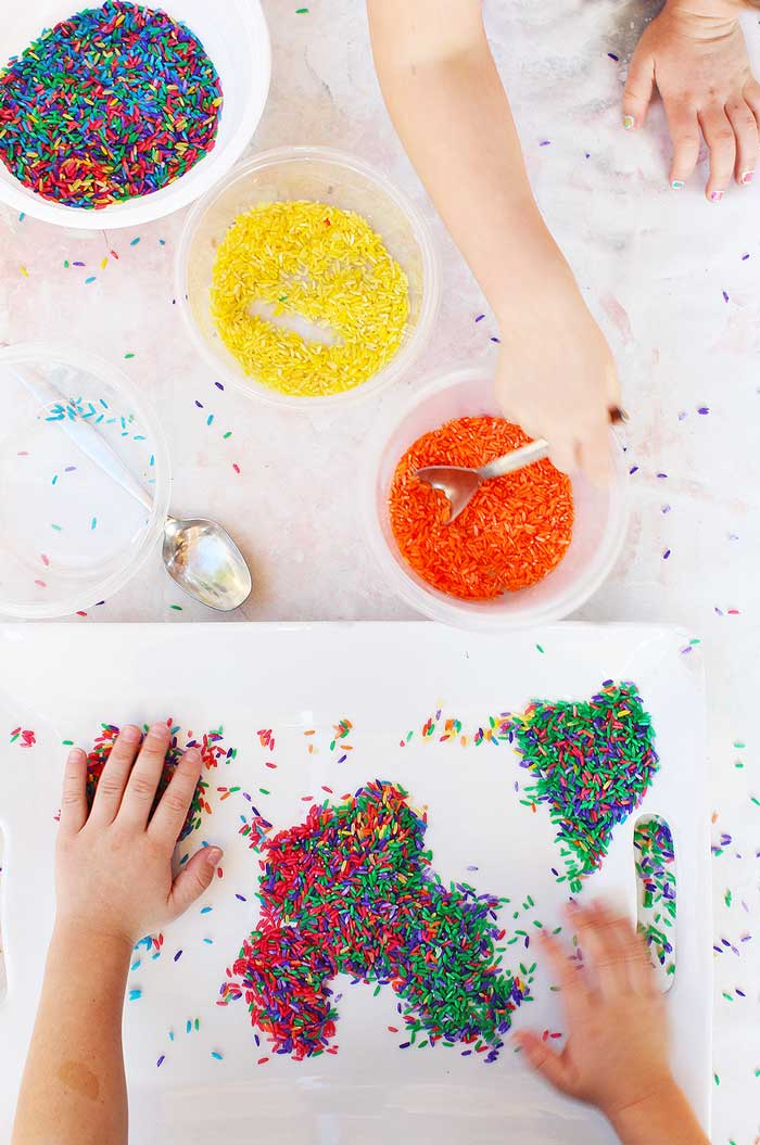 rice activities for preschoolers sensory play ideas confetti rice babble dabble do 410