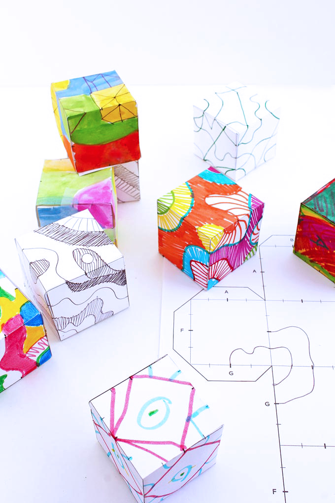 Drawing Ideas for Kids: Make Doodle Cubes and take your 2d drawing into 3 dimensions!