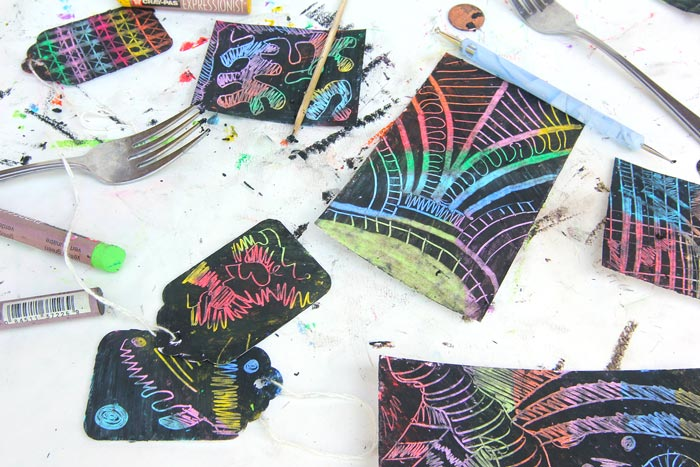 Learn how to make your own scratch art paper using one simple material: Oil Pastels. From start to scratching in minutes!