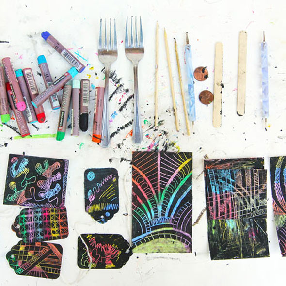 Learn how to make you own scratch art paper using one simple material: Oil Pastels. From start to scratching in minutes!