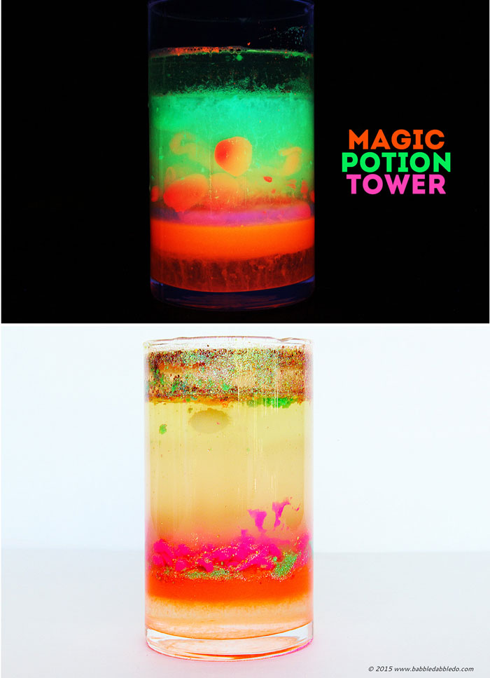 Spooky science projects for kids: Make a glowing Magic Potion Density Tower and explore the density of different liquids.