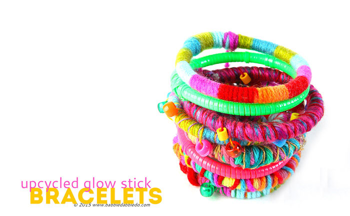 Instead of throwing used glow sticks in the trash upcycle them into fancy diy bracelets; no one will ever guess there is an old glow stick underneath!