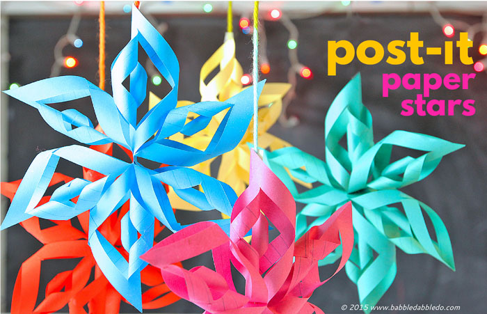 3d paper stars from post it notes babble dabble do for Make a 3d star