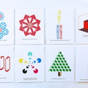 Printable Holiday Cards featuring holiday themed optical illusions