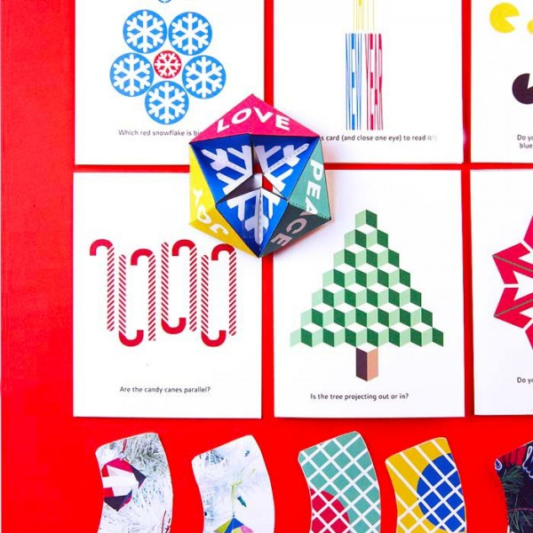 Printable Holiday Cards featuring holiday themed optical illusions.