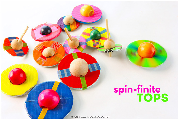 "An easy DIY toy idea that always delights kids and adults is the simple spinning top. This ""spin-finite"" version is made from two easy to find materials that when combined, spin for a very, very long time!"