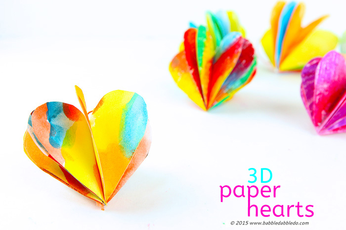 3D Paper Hearts are a simple Valentine's Day craft you can personalize by decorating the paper with your own designs.