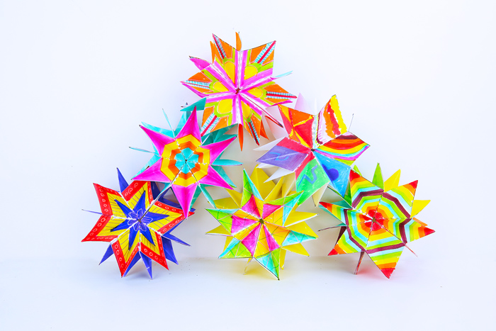 Mini Paper Folded Stars: A colorful paper art project with a big reveal!