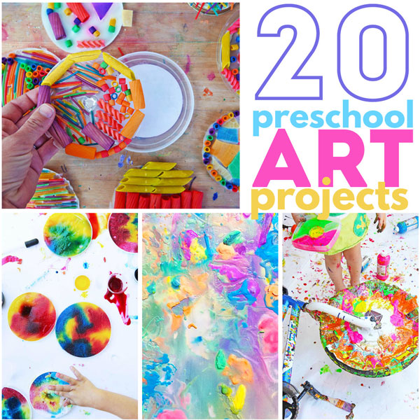20 Preschool Art Projects: Colorful and engaging art projects perfect for preschool aged children.