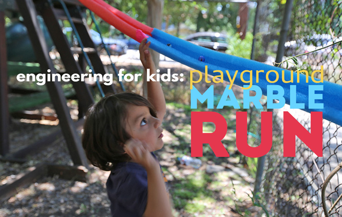 A fabulous STEAM challenge for groups: Make a playground sized DIY marble run using pool noodles!